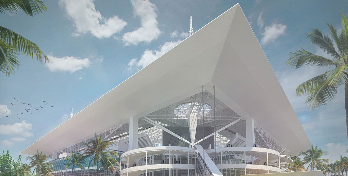 Miami Dolphins Stadium rendering with new awning structure.