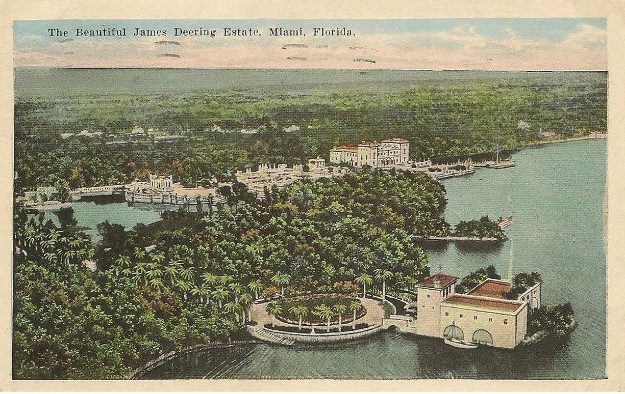 Vintage postcard showing the former marine gardens of Vizcaya.