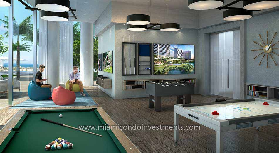 game room at Prive condos