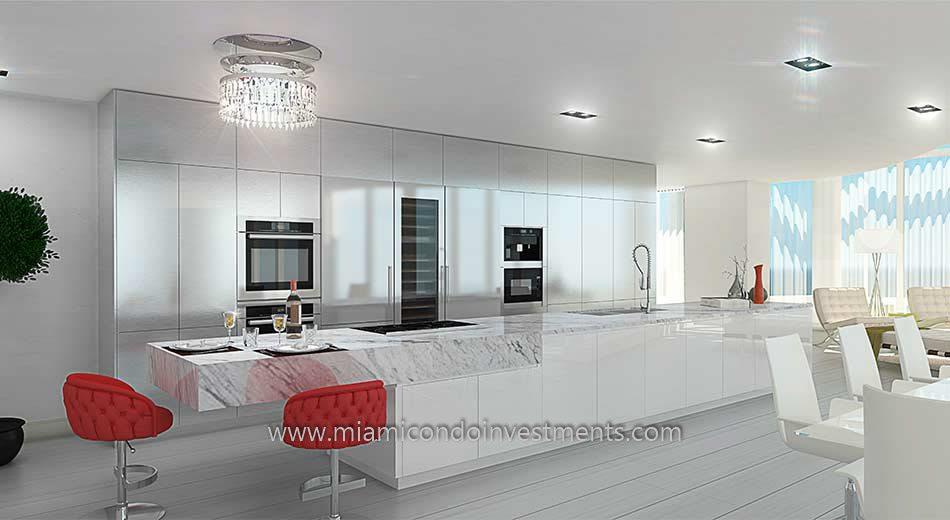 kitchen at Prive condos