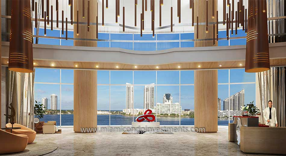 lobby at Prive condos in Aventura