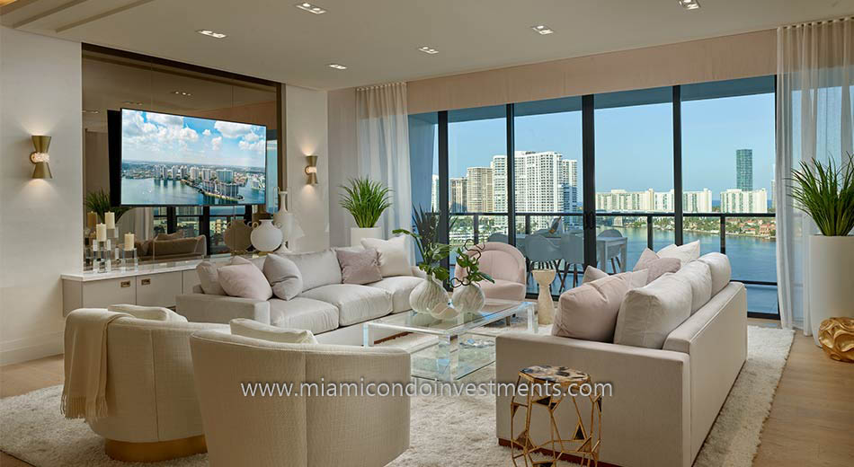 furnished model unit at Prive condos