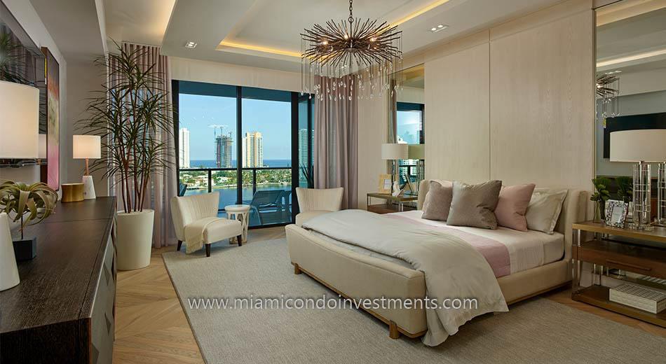 furnished master bedroom at Prive