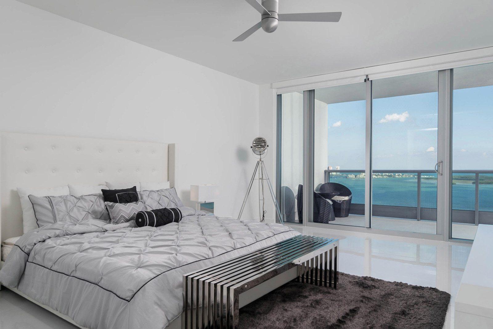 furnished master bedroom at Jade Brickell