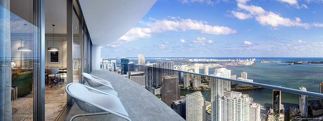 Brickell Flatiron 18 Balcony and View