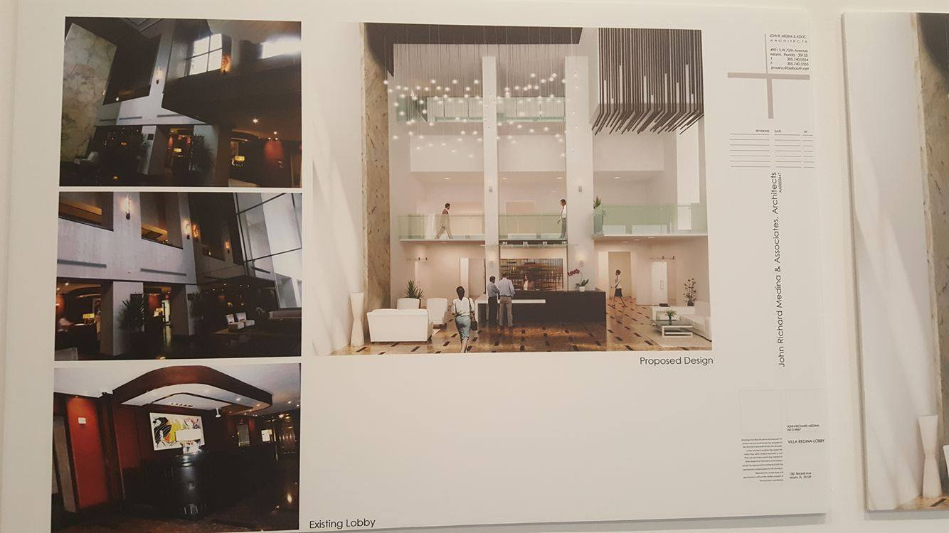 Villa Regina Lobby Renderings Before and After