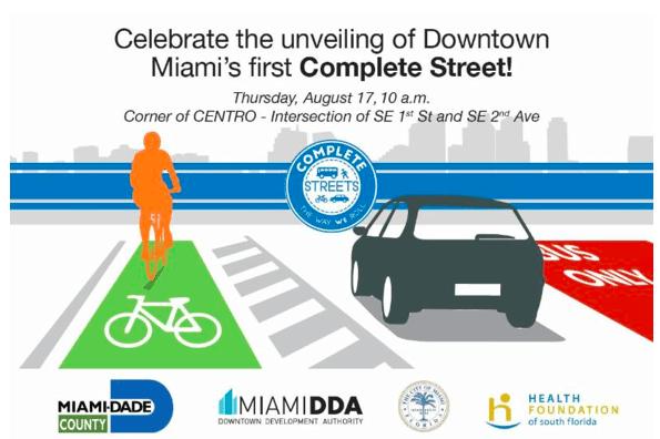 """Downtown Miami Set To Unveil Miami's First """"Complete Street"""""""