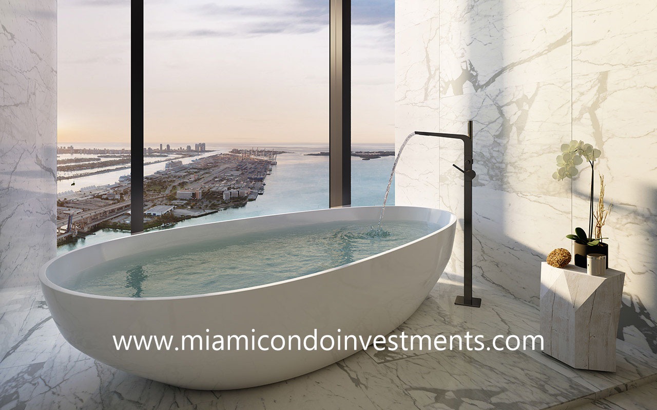 Waldorf Astoria Miami master bath with standalone bath tub