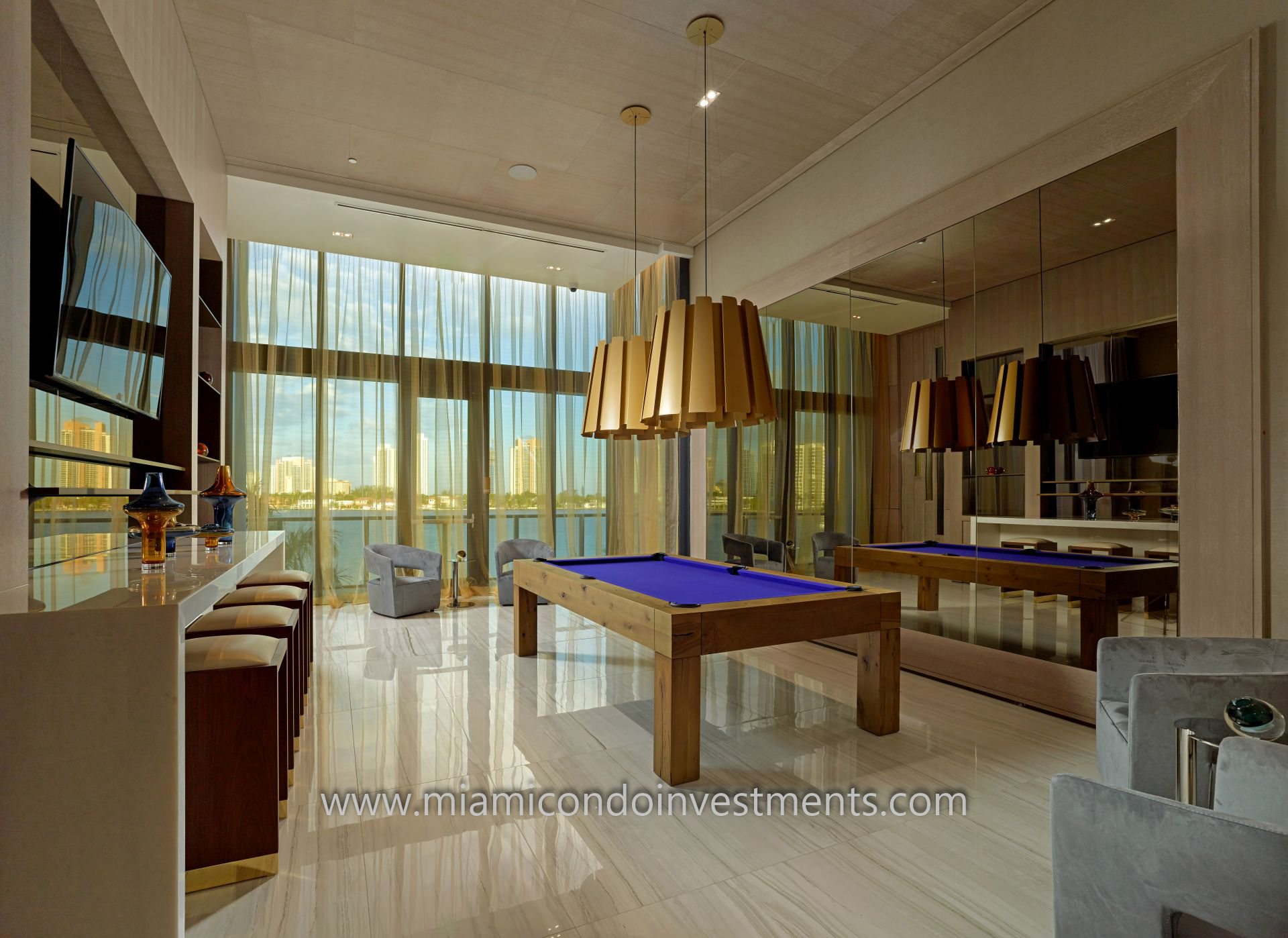 billiards room at Prive