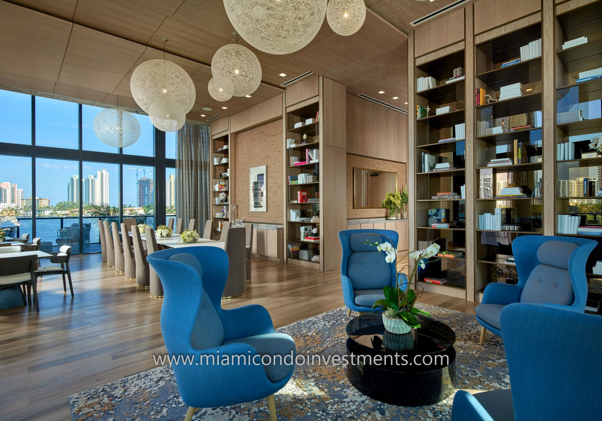 Prive library and dining area