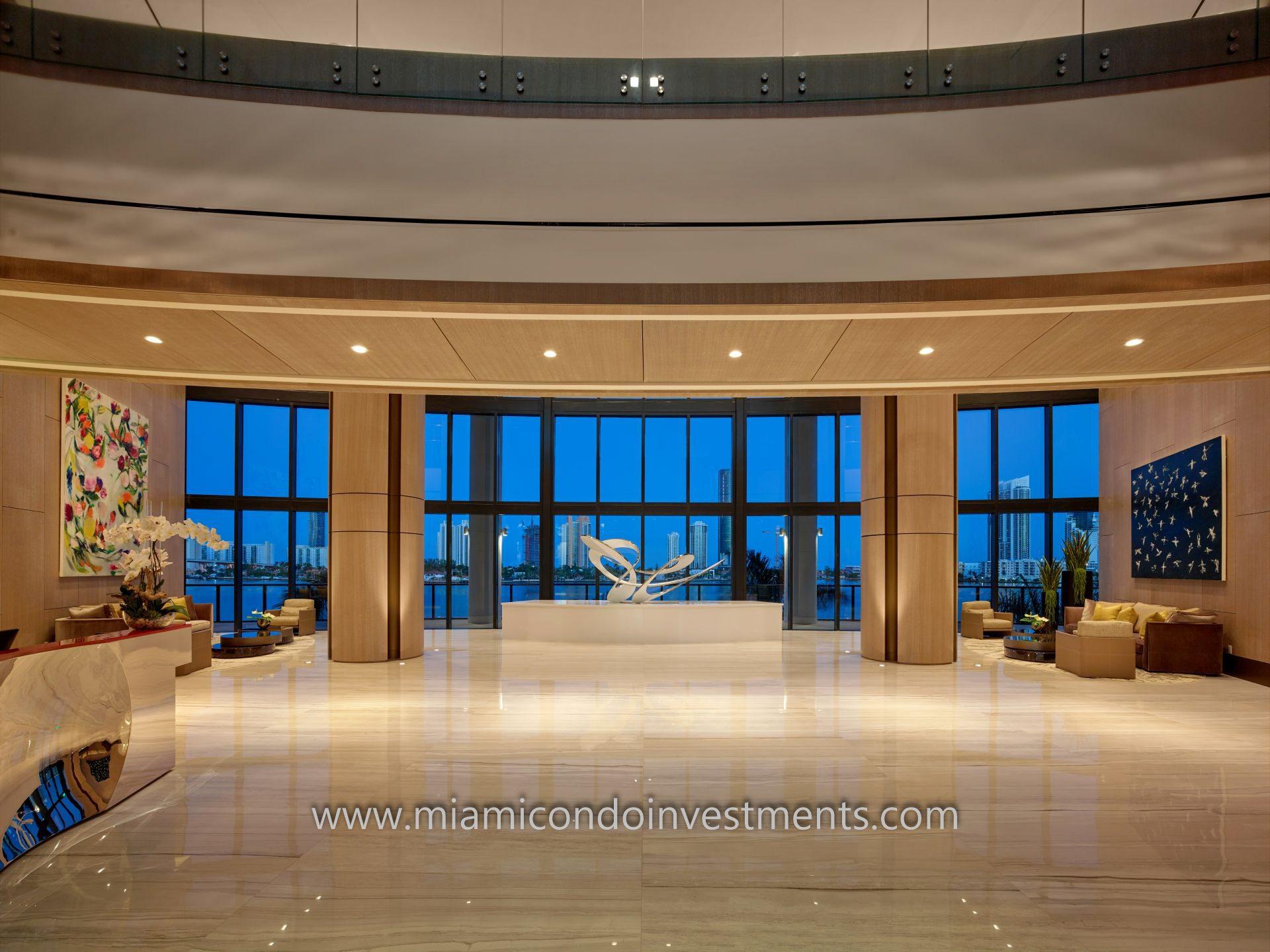 lobby at Prive condominiums