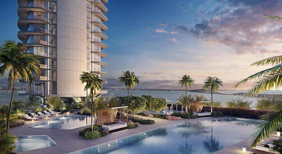 bayfront pool deck at Una Residences