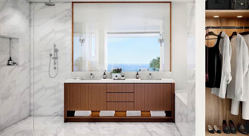 master bathroom at Una Residences