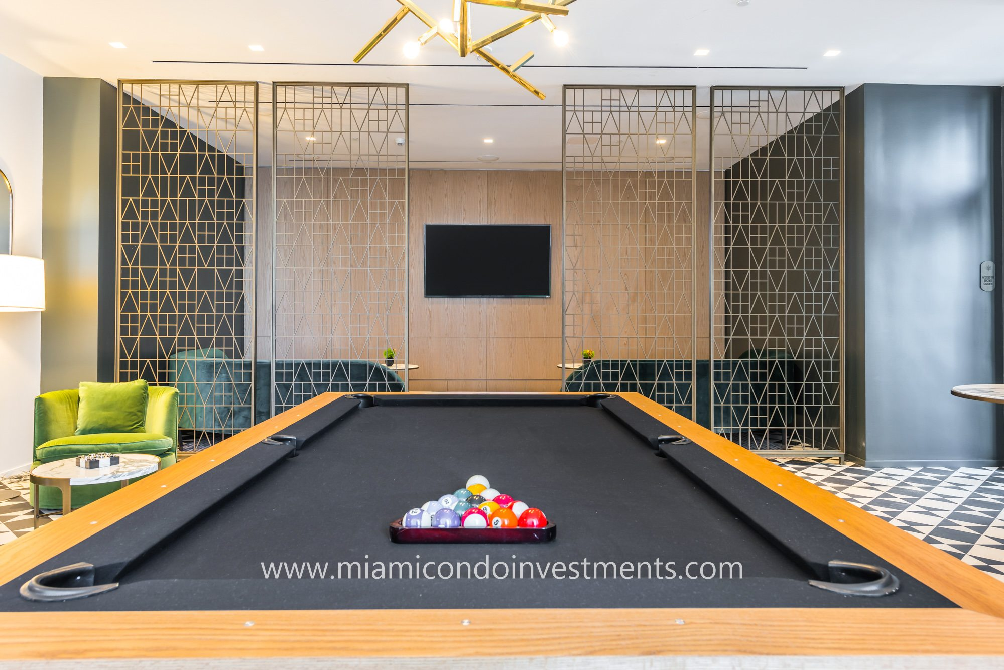 billiards room at SLS Lux