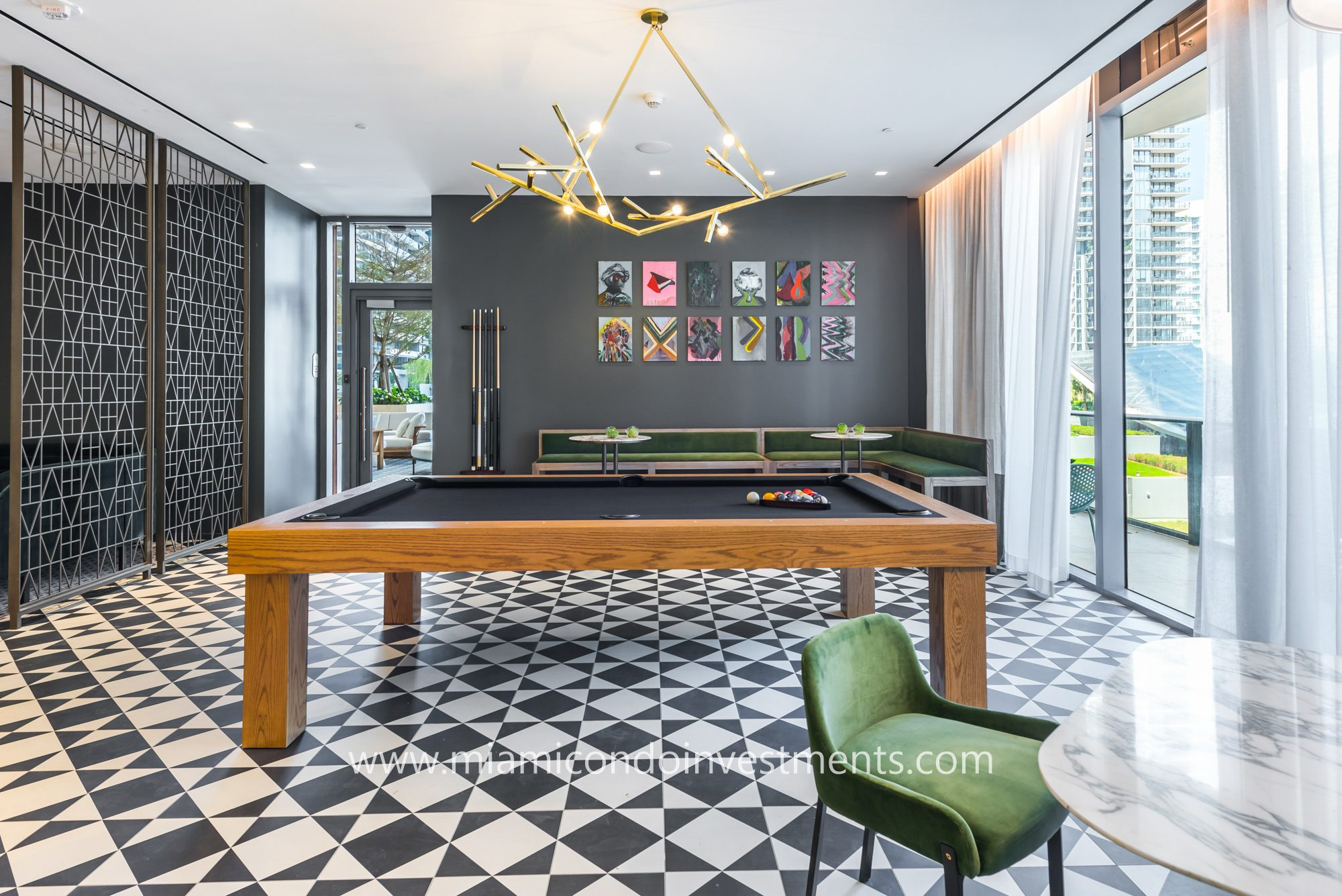 SLS Lux billiards room