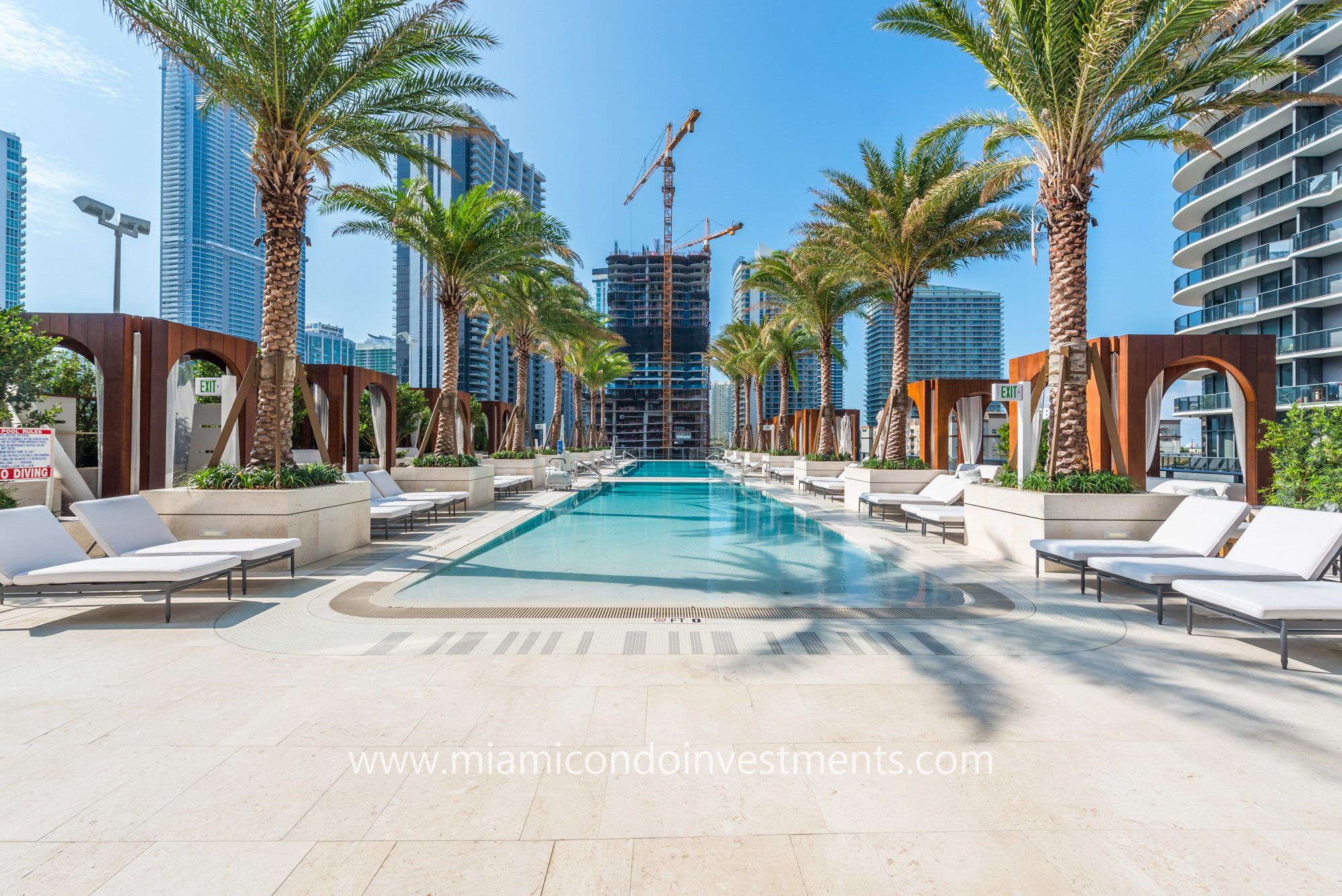 pool deck and cabanas at SLS Lux Miami