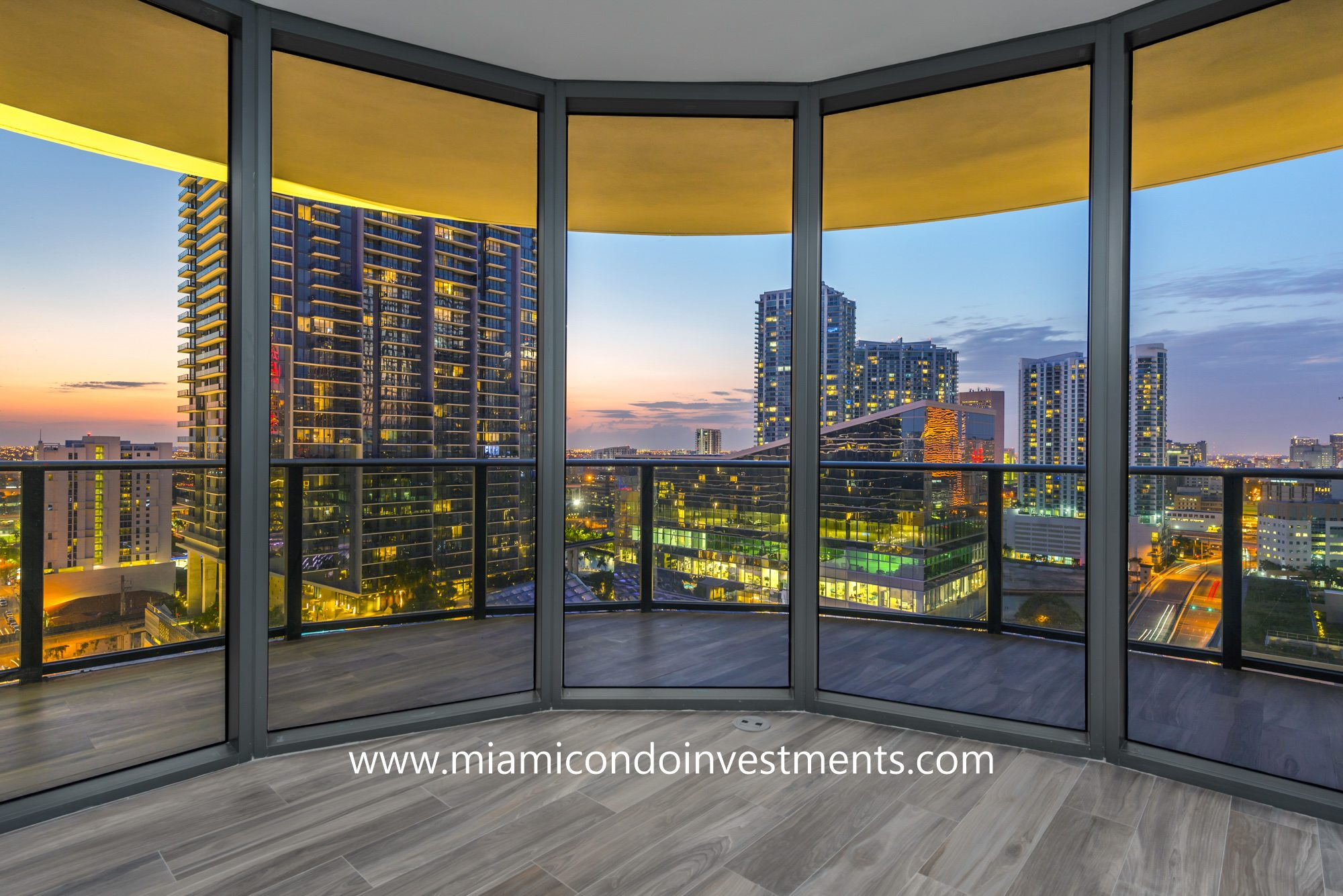 sunset views from SLS Lux condos