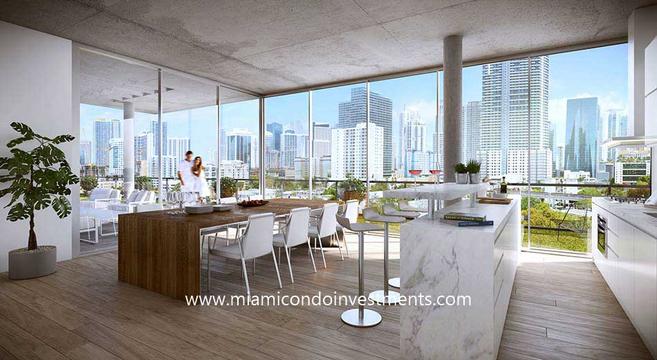 Cassa Brickell rooftop dining areas