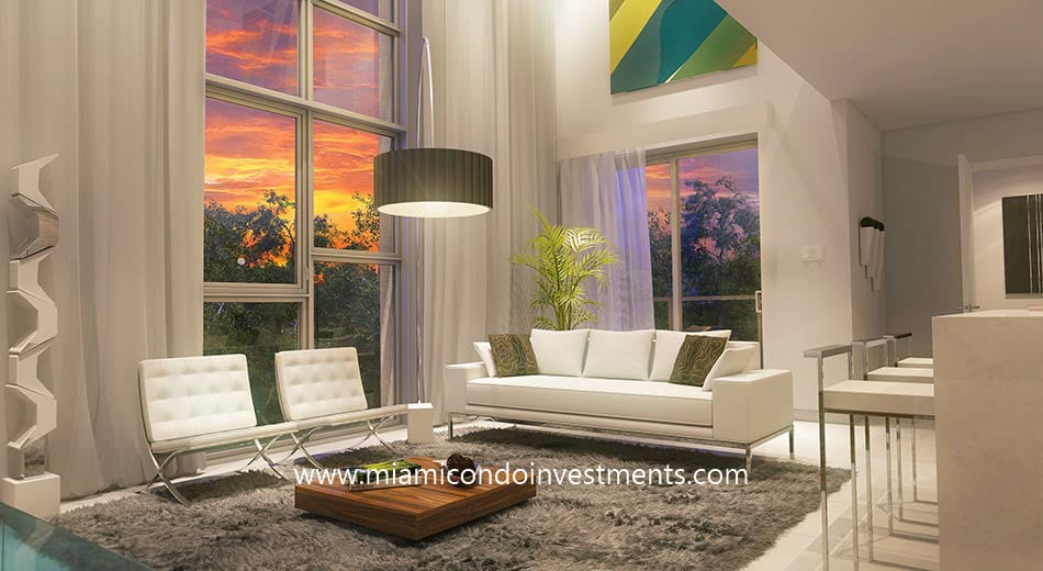 One Bay living room at sunset