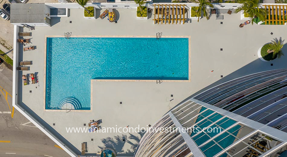 aerial view of Opera Tower pool