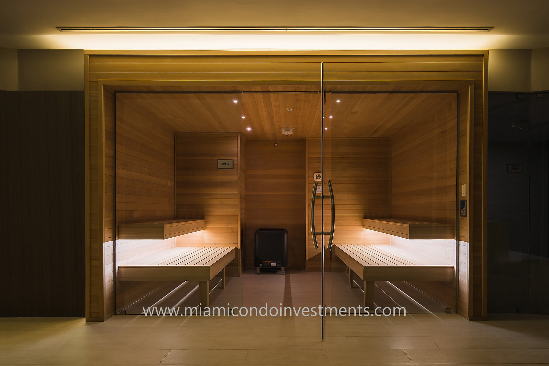 sauna at Aria on the Bay