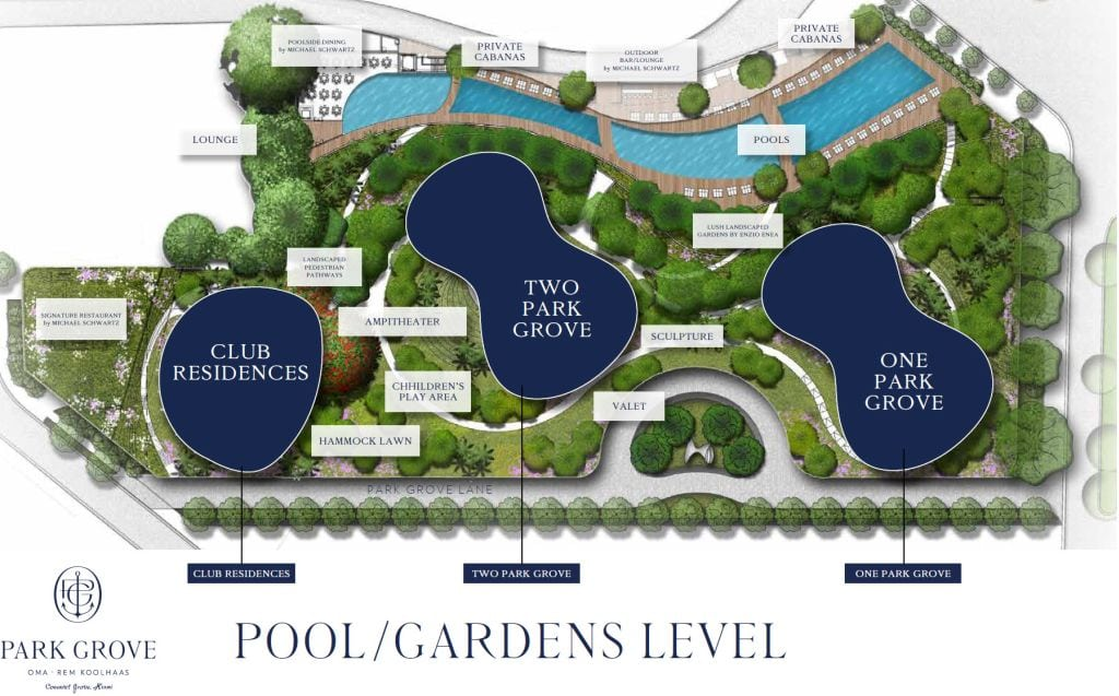 Park Grove site plan pool / garden level