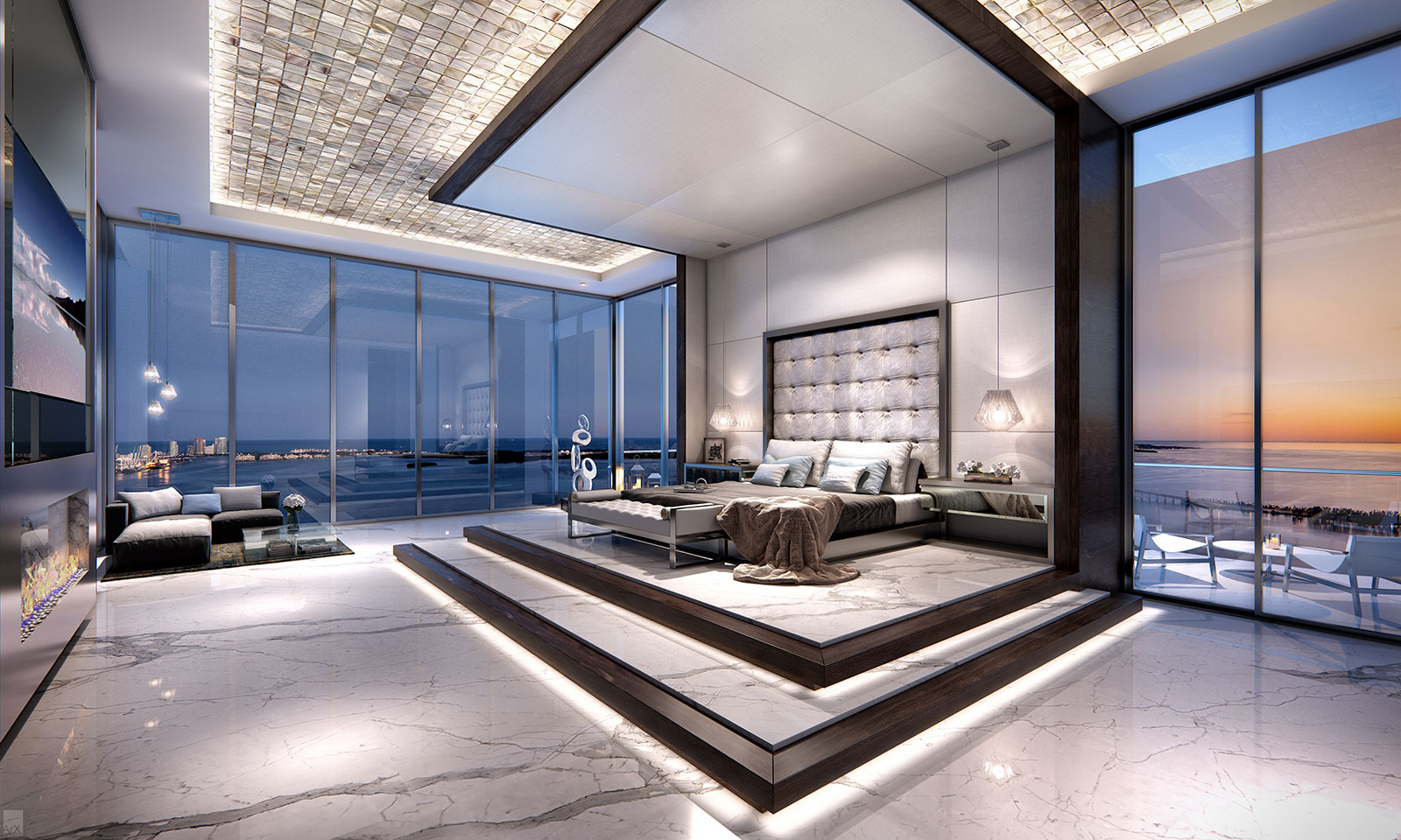 Echo Brickell penthouse master bedroom