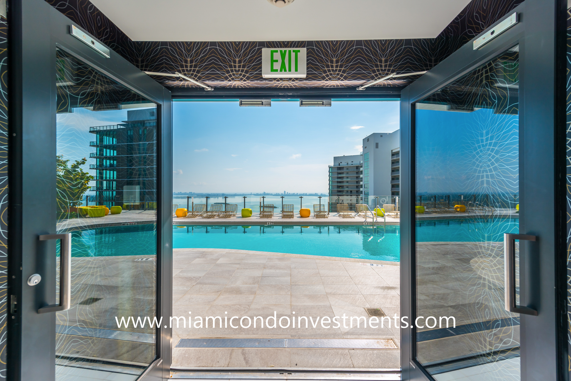 entrance to rooftop pool deck