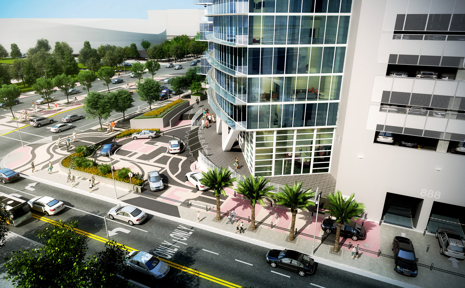 Marina Blue valet area renovation rendering
