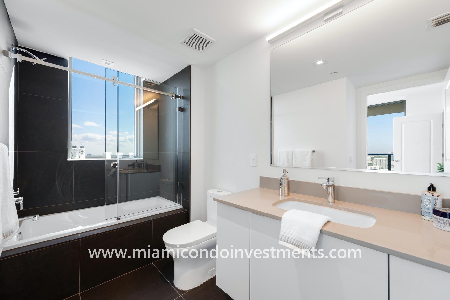 master bathroom at Canvas Miami