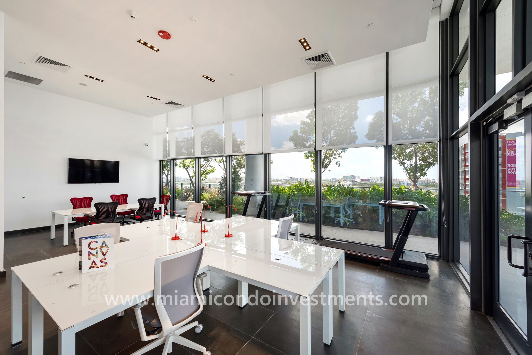 business center at Canvas condos