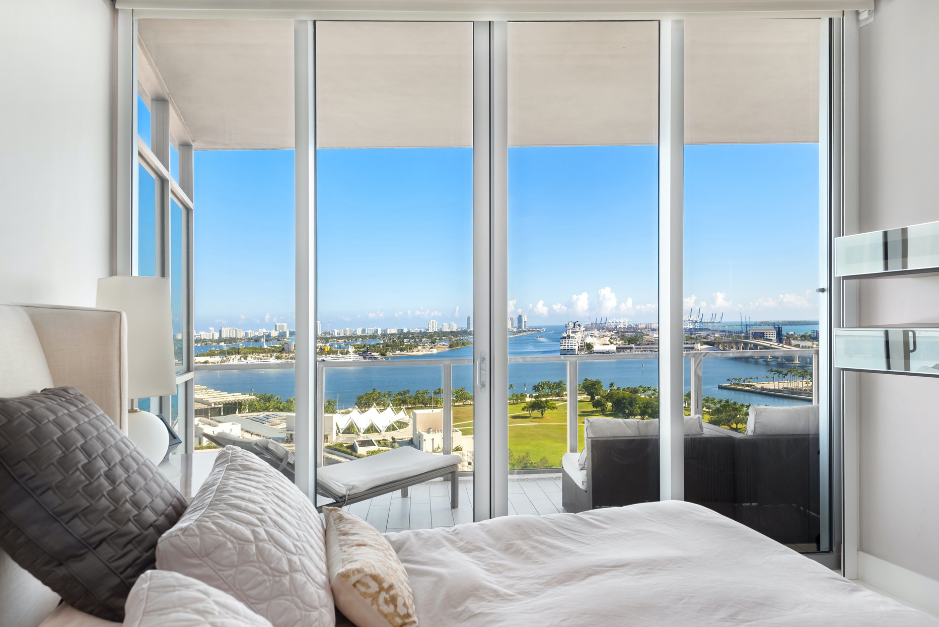 master bedroom with direct water view