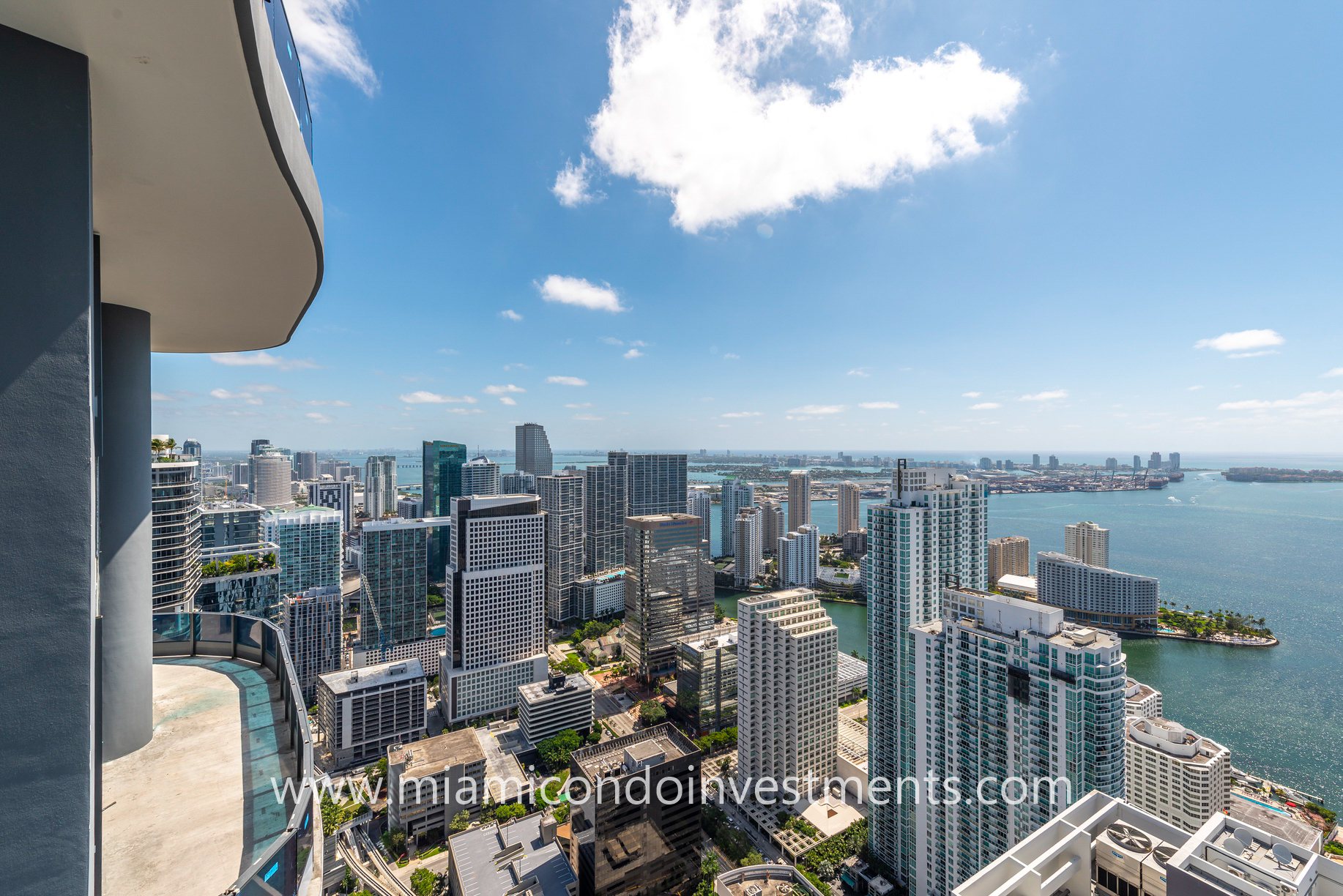 northeast views from Brickell Flatiron upper penthouse