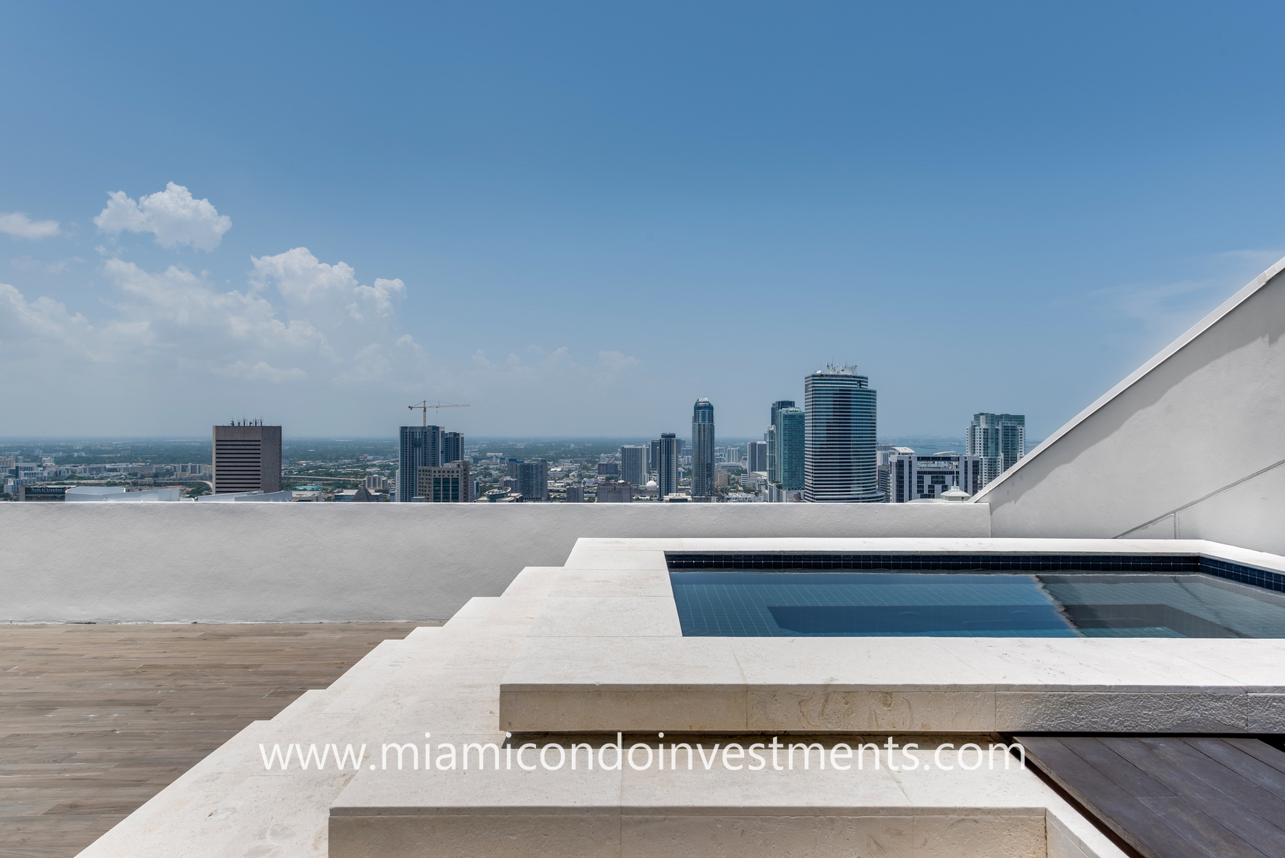 Miami skyline views from rooftop Jacuzzi