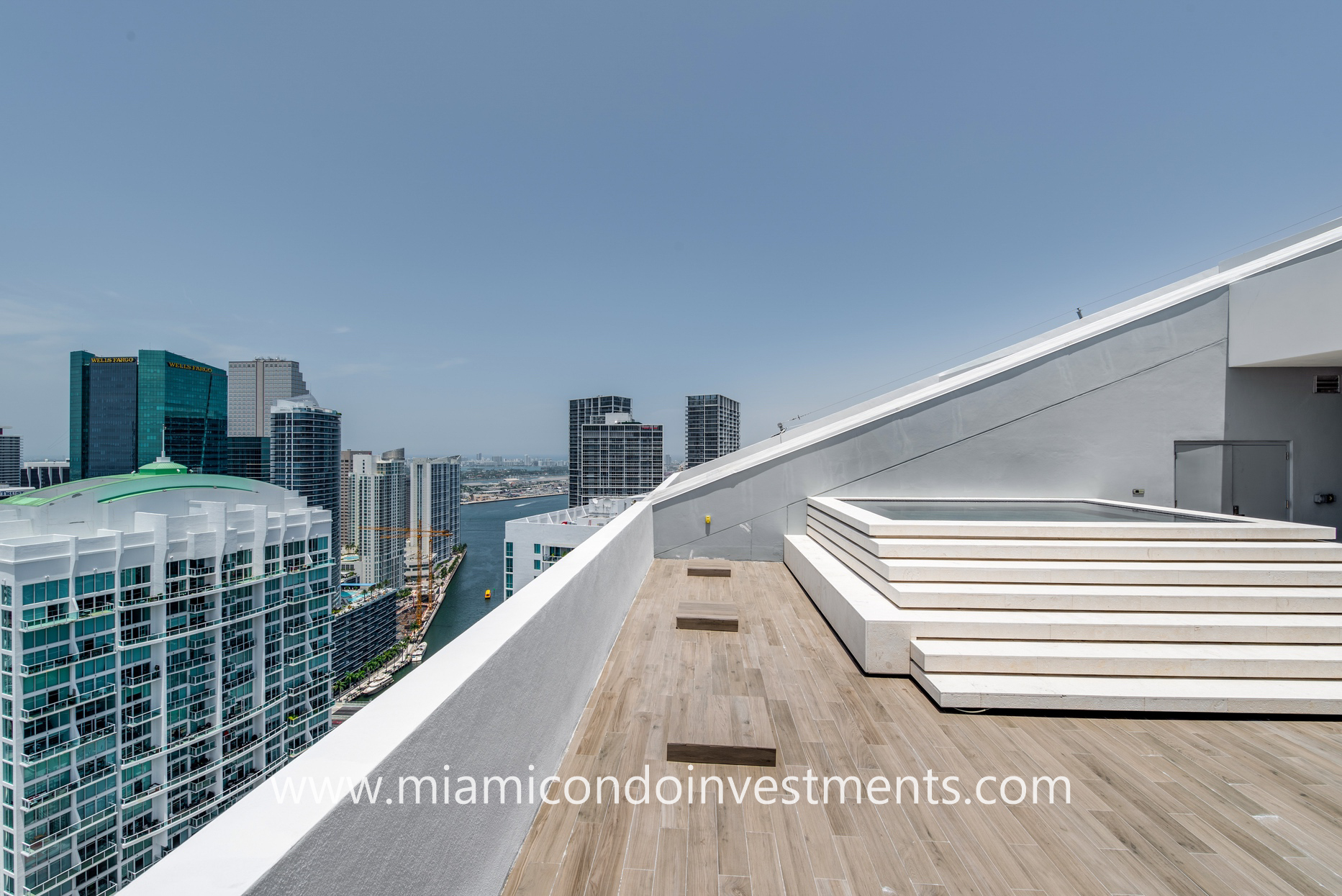 views of Miami River and Biscayne Bay from rooftop terrace