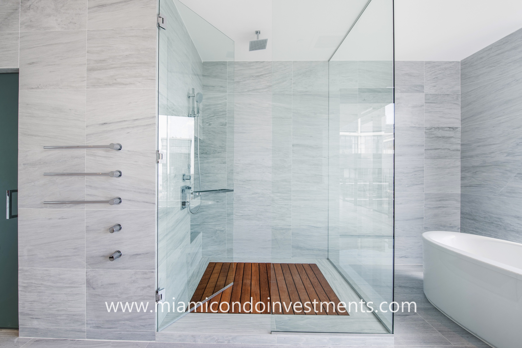 glass-enclosed rainfall shower