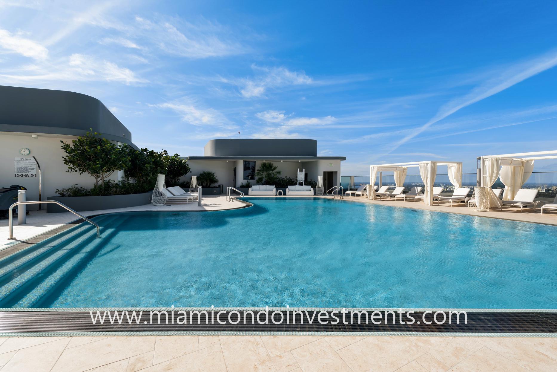 Brickell Flatiron rooftop pool and cabanas