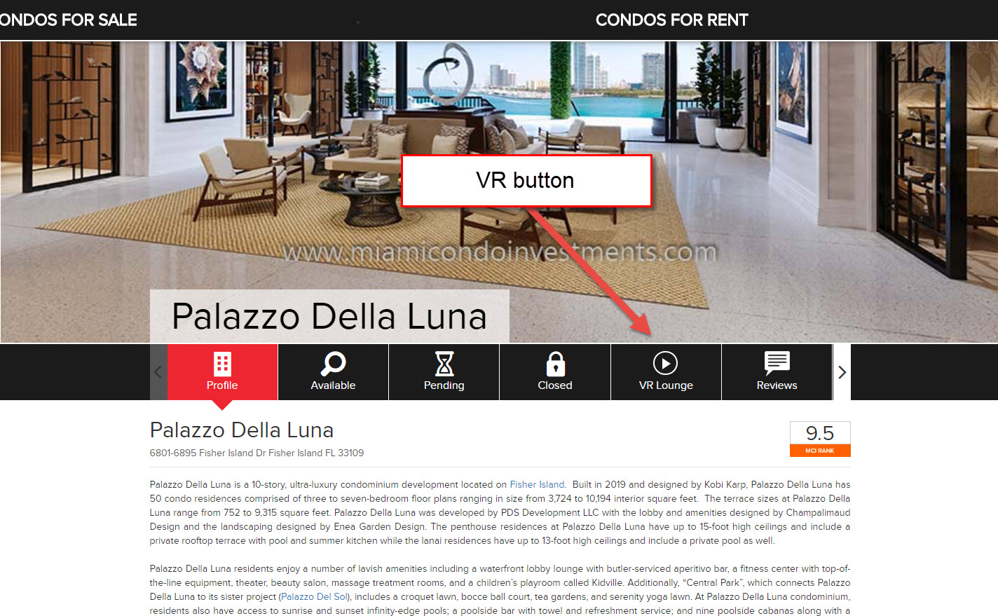 virtual reality button on Miami Condo Investments website