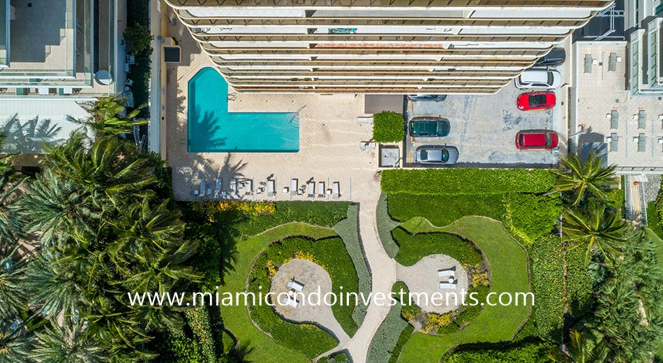 aerial view of The Waves pool deck
