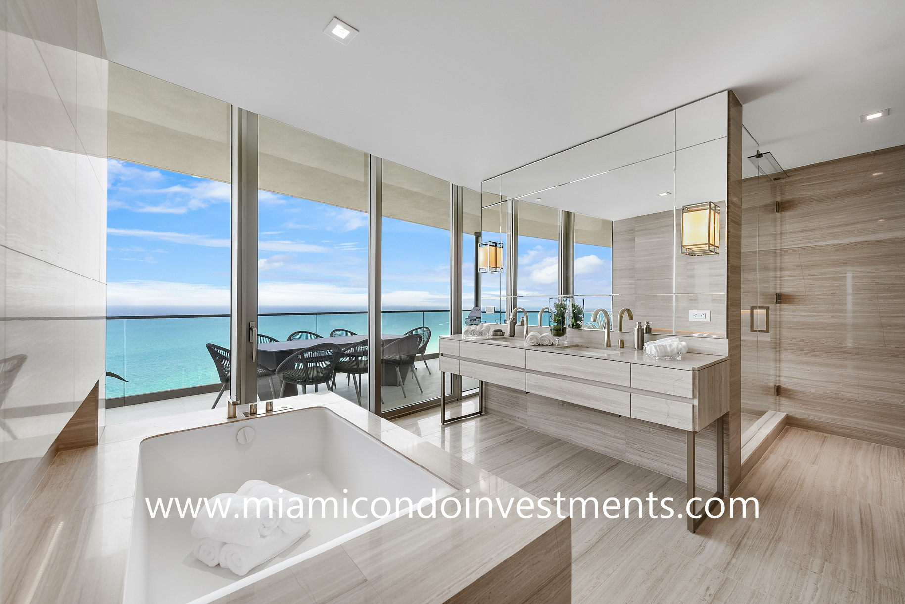 master bathroom with direct ocean views