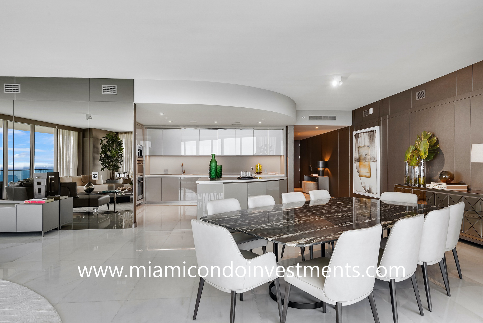 Armani Casa dining area and kitchen