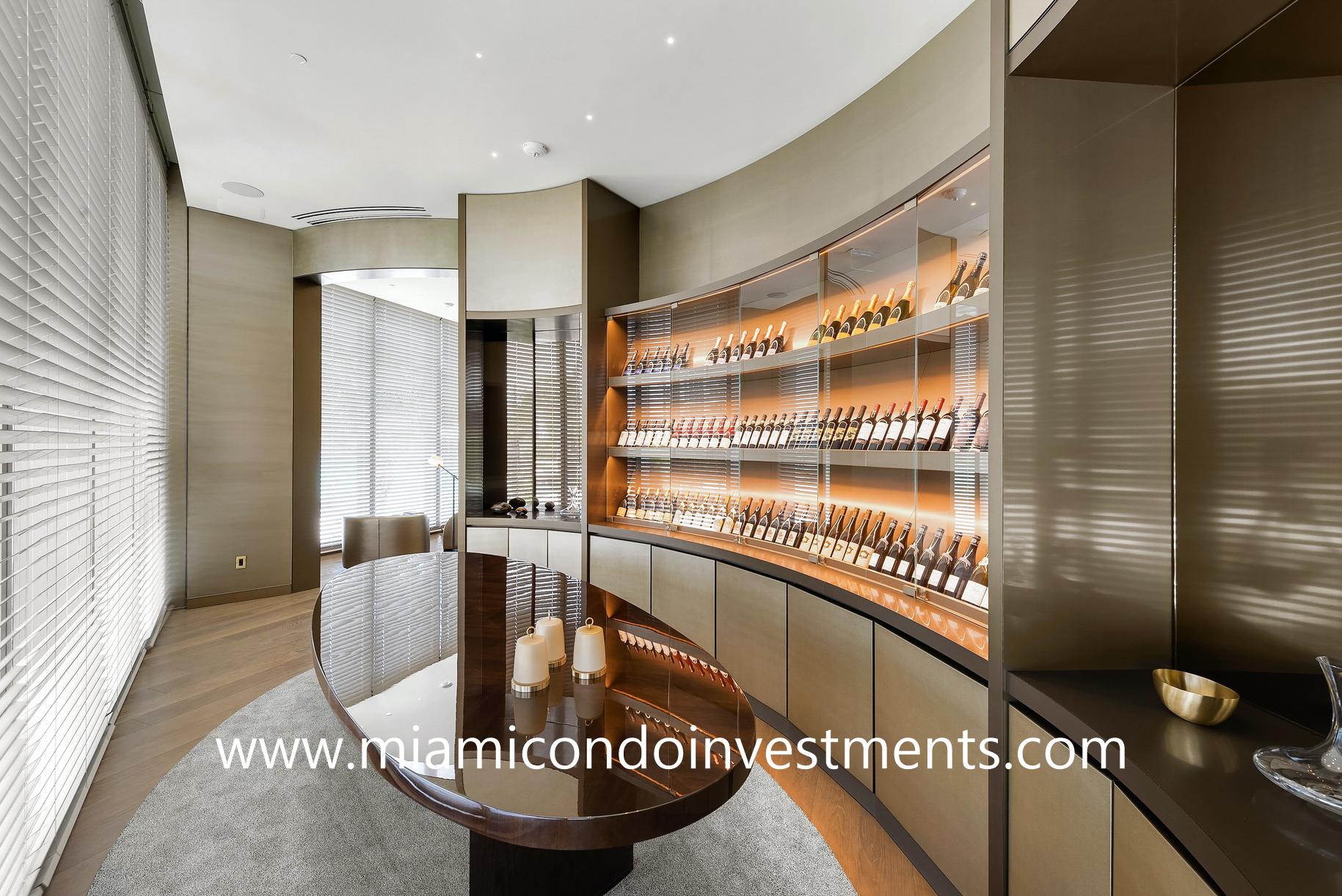 wine cellar at Armani Casa Residences