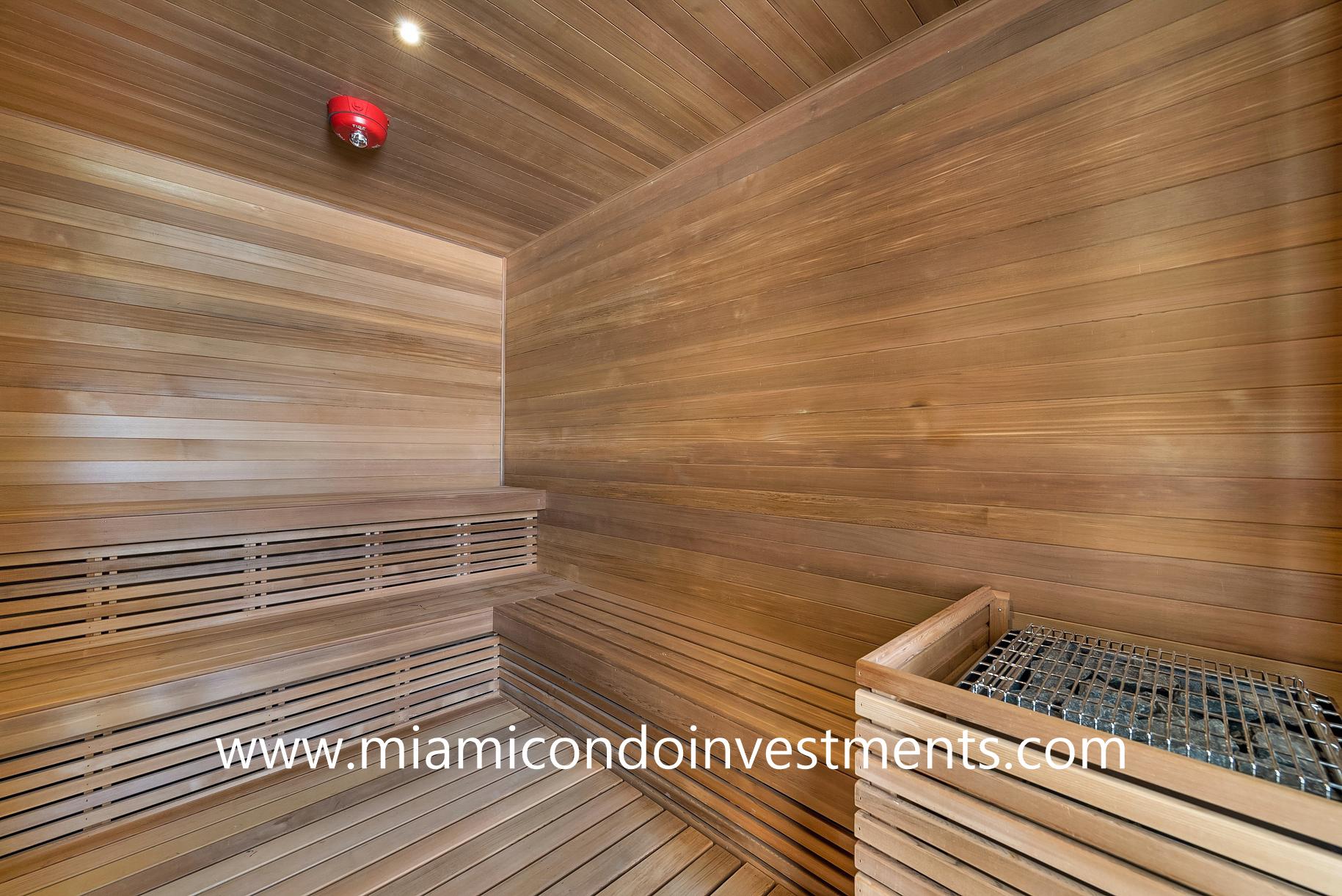 sauna at Armani Casa Residences