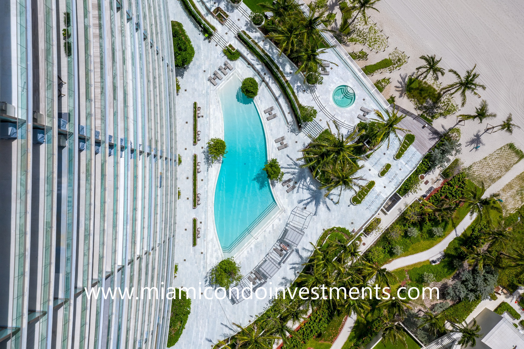drone photo of the pool deck at Residences by Armani Casa Residences