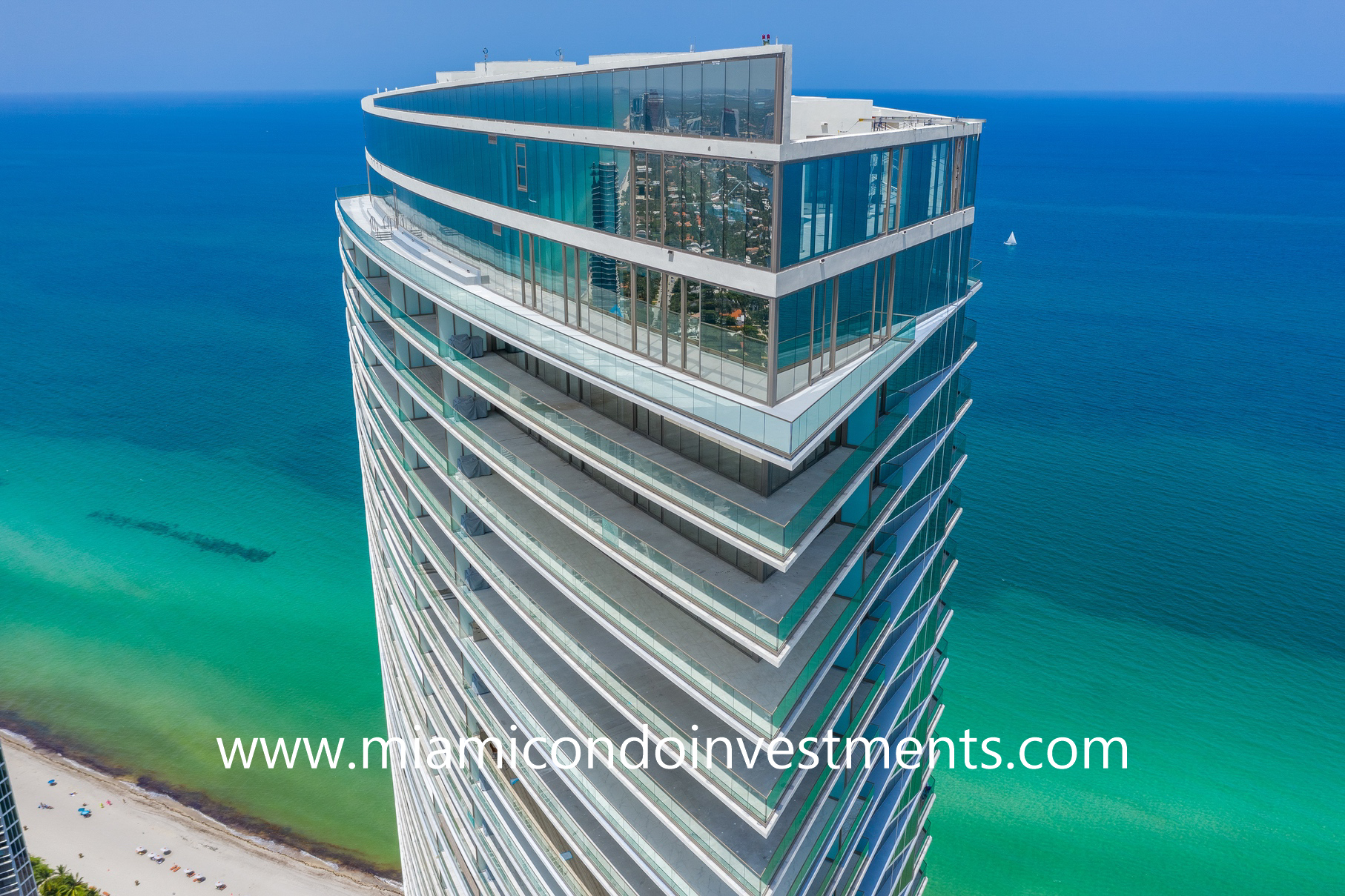 aerial view of Armani Casa Residences in Sunny Isles Beach