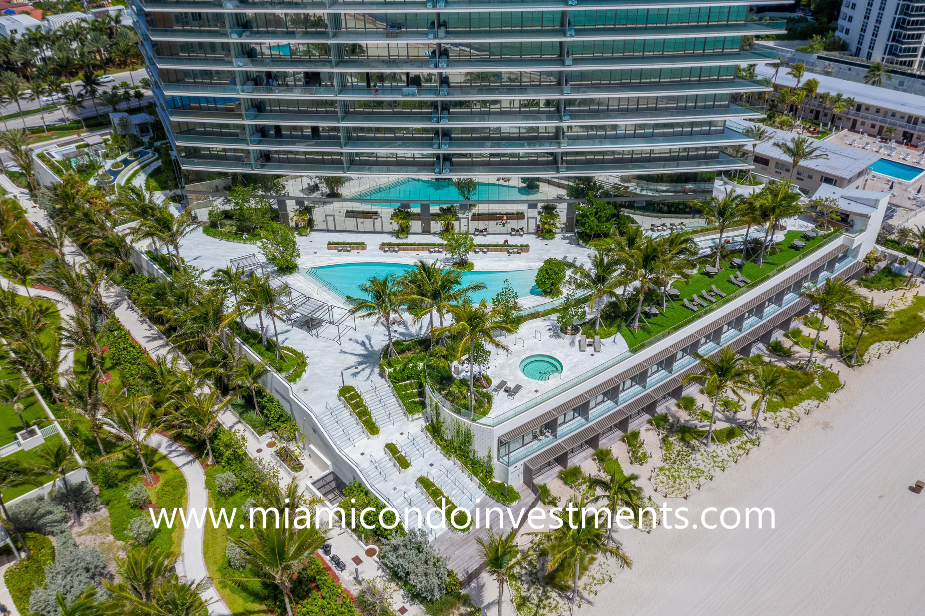 aerial view of the pool deck at Armani Casa Residences