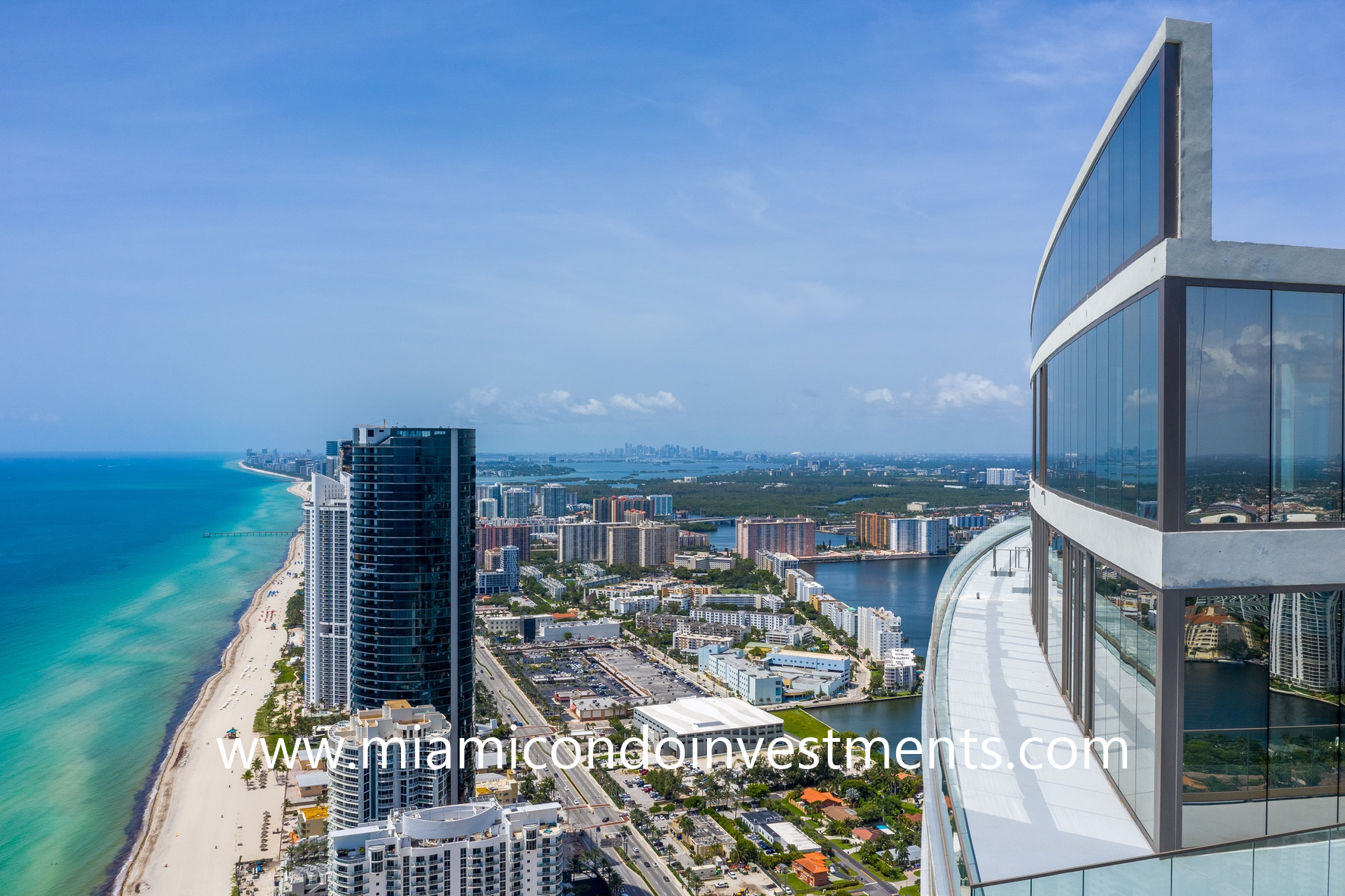 ocean and city views from Armani Casa penthouse