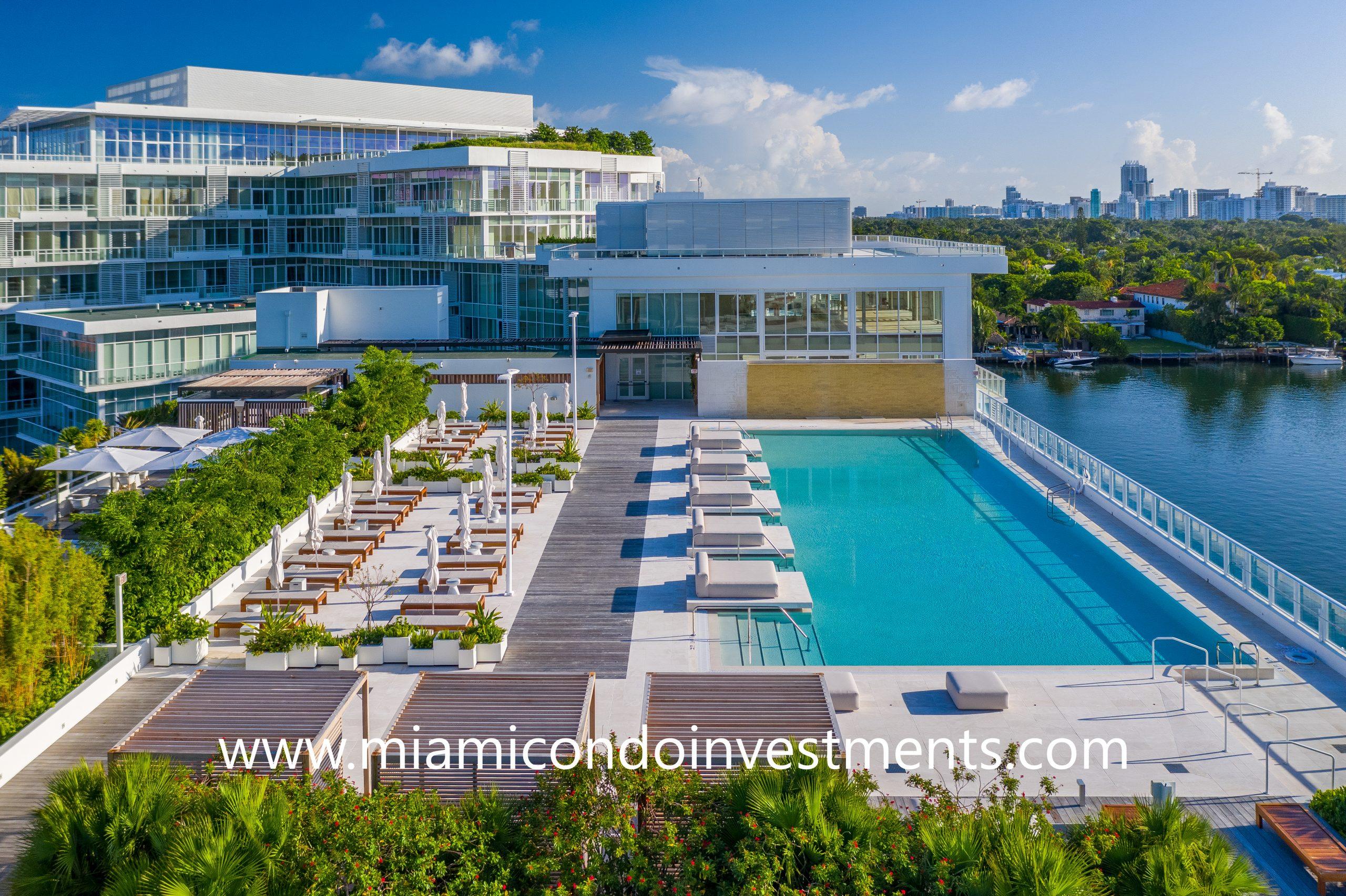aerial view of Ritz-Carlton Residences Miami Beach pool deck