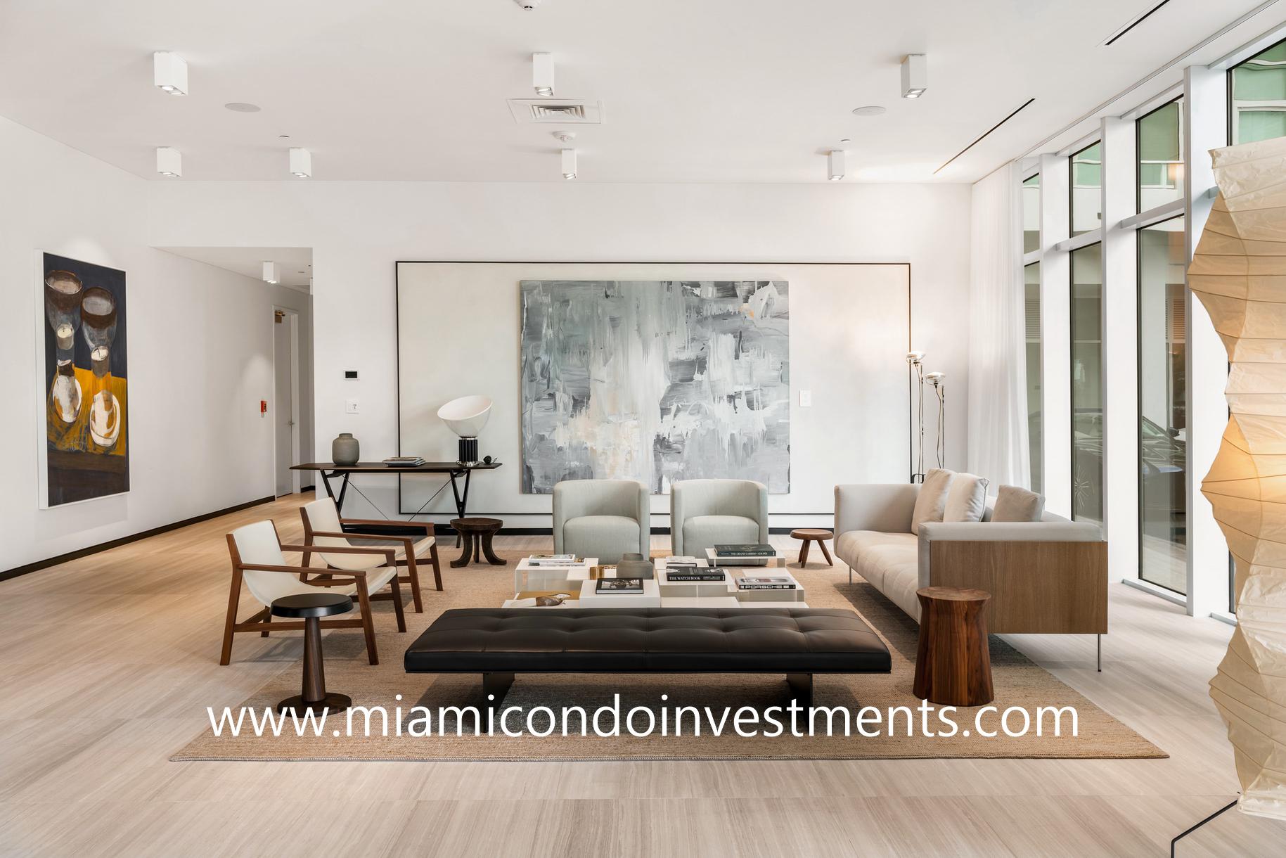 lounge area at Ritz-Carlton Residences Miami Beach