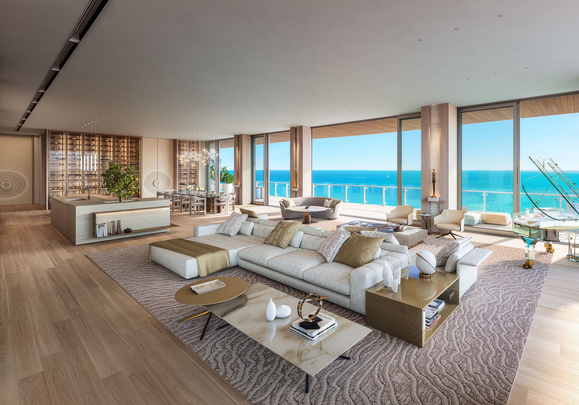 57 Ocean penthouse dining and living room